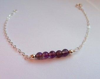 Sterling Silver amethyst bracelet, Amethyst bracelet, Gemstone bracelet, February birthstone bracelet, Purple stone bracelet