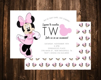 Minnie Mouse 2nd Birthday Invitation; Double Sided; Pink & Black; Printable or set of 10