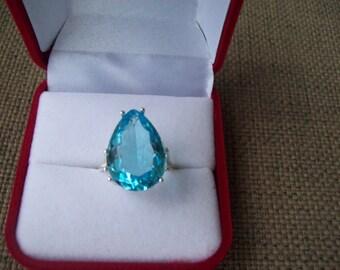 Light Aquamarine Pear Ring Sterling Silver - Huge 18x13 mm