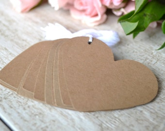 kraft heart tags with string, wedding heart favor tags, kraft heart gift tags, kraft heart price tags, kraft heart favor tags- 15 tags