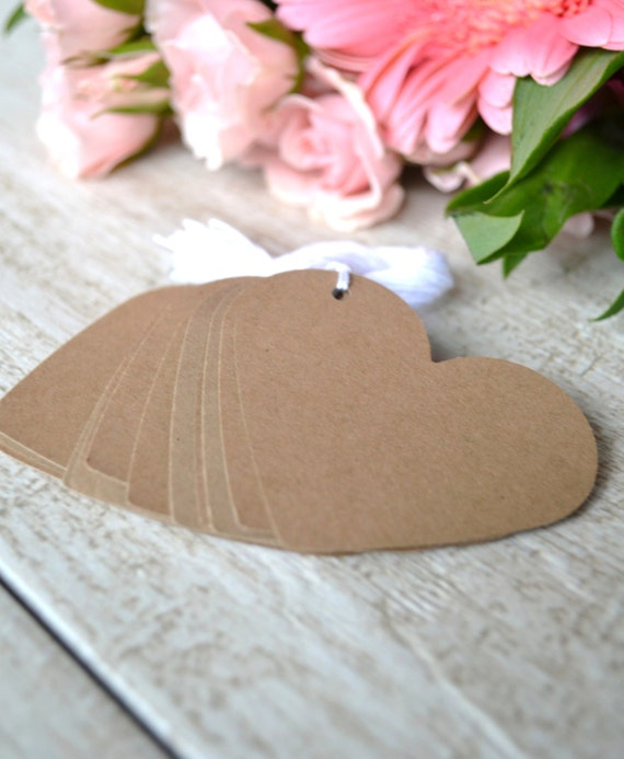Wedding Favor Tags With String : tags with string, wedding heart favor tags, kraft heart gift tags ...