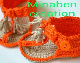 Flip-flops orange for small babies. To order only.