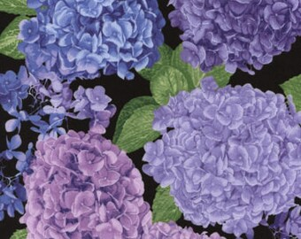Lavender, Blue, and Pink Large Floral, Hydrangea, Timeless Treasures (By 1/2 yd)