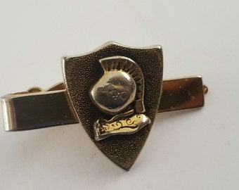 Vintage 1960's Swank tie clip, Knights Helmet gold tone suit accessory