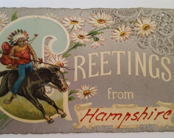 Antique 1909 American Indian postcard, 1 cent stamp, Greetings from Hampshire, embossed diecut