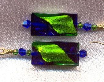 Cobalt Blue and Emerald Green Venetian Glass Bead Rectangles with 24 Karat Gold Foil Inside; Handmade, Lampworked, Murano Glass Earrings.