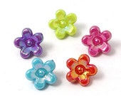 Colorful Acrylic Beads, AB Color, Dyed, Flower Shape, Qty. 50, Mixed Color, 11x7mm, Hole: 2mm   #084