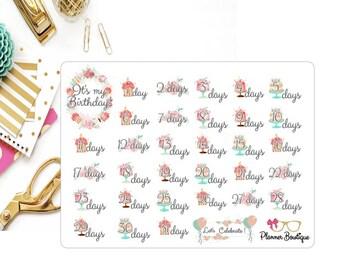 Birthday Countdown Planner Stickers