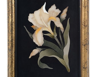 "Pietra Dura Plaque ""White Orchid""Antique Firenze Mosaic"