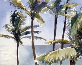 Palm Trees in the Sea Breeze, Art Print, Watercolor Painting, Hawaii, Kauai, Lydgate