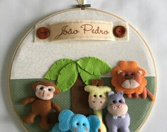 Safari personalized hoop, baby room wall hoop, baby room door hanger,personalized baby nursery hanging, Safari wall hanger