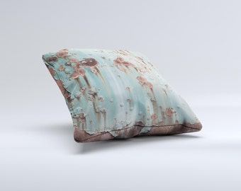 The Subtle Blue Metal with Rust ink-Fuzed Decorative Throw Pillow