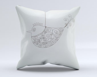The Simple Vintage Bird on a String ink-Fuzed Decorative Throw Pillow