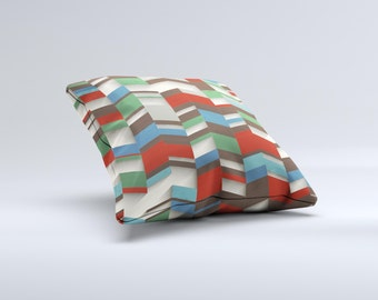 Choppy 3d Red & Green Zigzag Pattern ink-Fuzed Decorative Throw Pillow