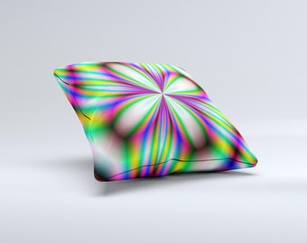 The Neon Tie-Dye Flower ink-Fuzed Decorative Throw Pillow