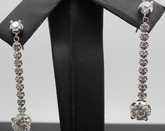 14k White Gold Round Brilliant Diamond Dangle Drop Earrings-3.00cttw g/h-si