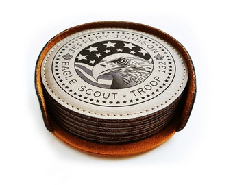 Custom Round Leather Coaster for Eagle Scouts