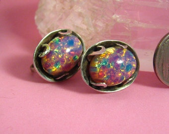 Vintage Jewelry Mexican Sterling Silver Colorful Pink Opal Dragon's Breath Earrings Screw On