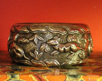 Vintage Tibetan Silver Repousse Animal Spirit Cuff Bracelet