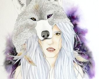 "Wolf Totem 16"" x 20""  Watercolor Illustration - Totem Series"