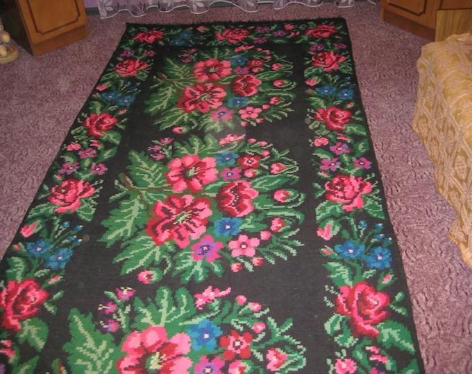 Bessarabian Kilim. Vintage Kilim, Handmade 35 years old, handmade.rose carpet, Ukrainian, Bessarabian carpet, Rosh.