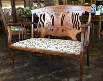 Pierced Back Wood Settee With Inlaid Trim Applied Scrolling Decorations Parlor Settee