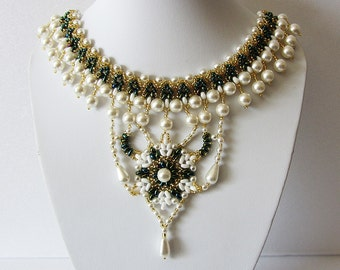 Necklace Pearl fantasy - Necklace Handmade – Bright, original, elegant, stylish necklace author's design in oriental style - Bead weaving