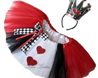 QUEEN of HEARTS Tutu . Little Girls to Adult Plus Size . DELUXE . 6 Layers . Short Length 11