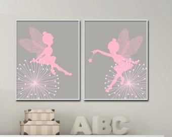 Fairy Nursery Wall Print, Baby Girl Pink and Gray Fairy Wall Print, Girls Bedroom Decor- N174,175 -custom color