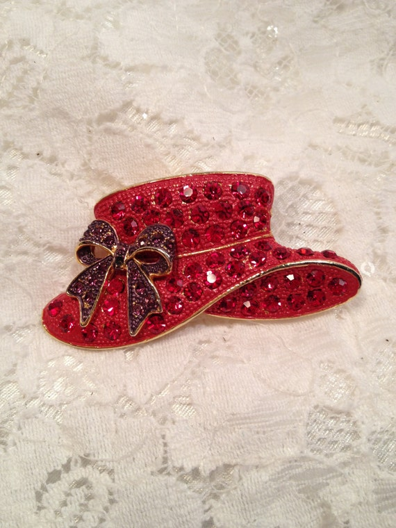 Ruby rhinestone red hat society pin purple rhinestone bow for Red hat bling jewelry