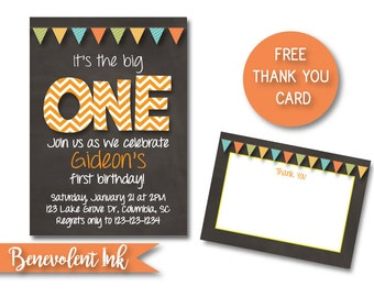 It's the Big One First Birthday Boy Party Invitation - Printable 1st Birthday Invite with FREE Thank You Card