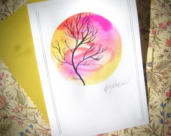 Hand-Painted Art Card in Pink and Yellow