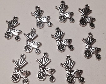 10 charms baby carriage. Hypoallergenic metal silver-plated. 20 mm.
