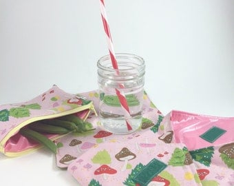 Reusable Lunch Set, Waste Free Lunch, Sandwich Wrap, Snack Bag Set, Back to School Lunch Kit, Washable Food Wraps