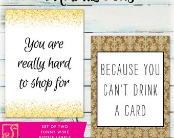 Funny Wine Bottle Labels - DIY Birthday Wine Labels - Congratulations Wine Labels