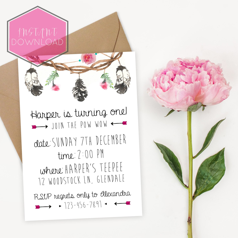 Boho Birthday Invitation Template Floral Birthday Invitation