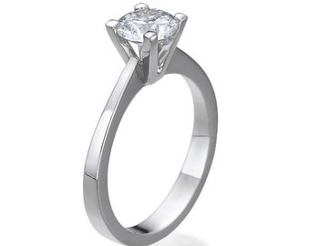 1 CT Solitaire Diamond Engagement Ring Platinum Round F SI1 Model JR-100