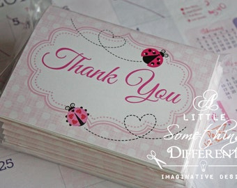 Pink Polka Dot Ladybug Thank you Cards / Ladybug Thank You Cards / Polka Dot Thank You Cards / Pink Ladybug Thank You Cards