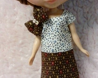 Blythe Doll Outfit Cloth Big bow two color dress