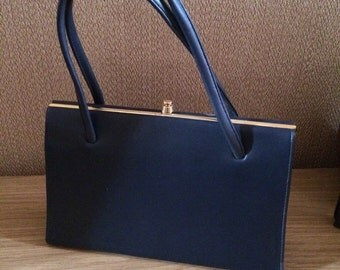 1950s Navy Blue Kelly Bag