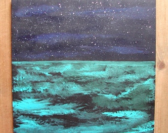 """Acrylic painting """"Starry Night over the sea"""" H.ANGIARI / ART-GALLERY-29"""
