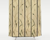 Shower Curtain / Solar Art - Solar Pyrography — Delicate Solar Etched Design - 'Cattails' Diptych / Polyester