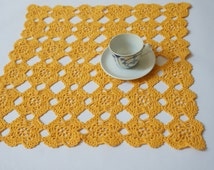 Square yellow tablecloth doily Table runner Vintage Retro granny square lace wedding handmade knitted crochet cottage chick flower sun
