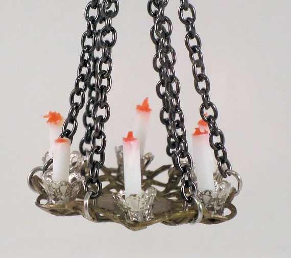 Medieval Gothic Tudor Or Rustic Black Iron Chandelier 6