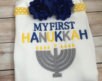 Baby Girls First Hanukkah Onesie & Headband, 1st Hanukkah Outfit and Bow, Infant Embrodiered Chanukah Onesie and Headband, Hanukkah Gift