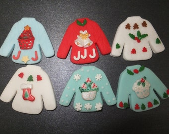 6 x Edible fondant ugly Christmas Sweater jumper cupcake toppers cake decorations (3)