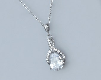 Swarovski Crystal Bridal Necklace, White Gold Twirl Bridal Jewelry, Wedding Jewelry, Silver Bridesmaid Jewelry,
