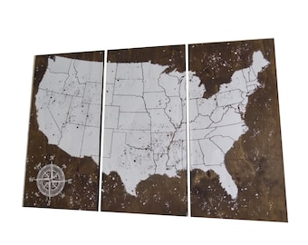 USA Travel Map, US Map, Push Pin Map, Personalized travel map, Travel Gift, Vintage Map, Wedding Gift, Anniversary Gift • Wedding Guest Book