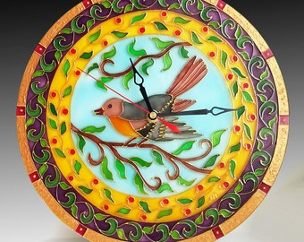 Spring Bird Glass Clock, Glass Painting, Glass Art, Vitrail, Leaves, Painted