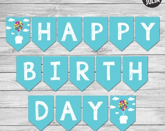 Disney UP themed Happy Birthday Banner - Instant Download!